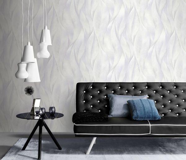 Vliestapete 3D Blätter weiß silber metallic