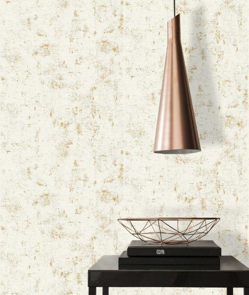 Uni Vliestapete Beton Optik Steinwand beige gold metallic