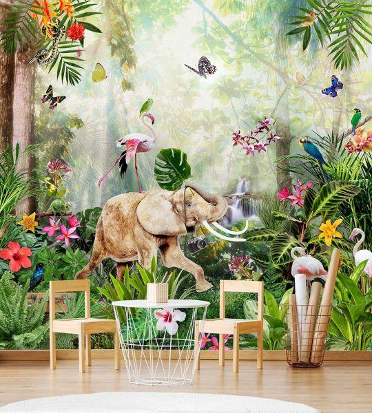 Vlies Fototapete Jungle Dance Wandbild 300 x 280 cm