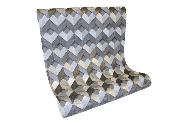 Vlies Tapete 3D effekt Würfel Cubes Rauten metallic anthrazit silber