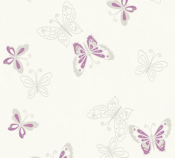 Vliestapete Schmetterlinge creme weiß flieder