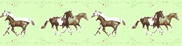 Tapeten Bordüre Kinder Pferde grün braun