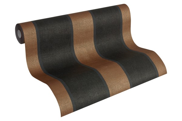 Vliestapete Streifen Optik Fleece Royal schwarz kupfer metallic 96186-7