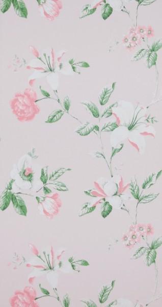 Vliestapete Blumenmuster rosé weiß grün Summer Breeze