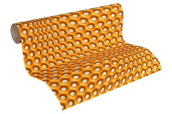 Vliestapete Retro 3D orange by Mac Stopa