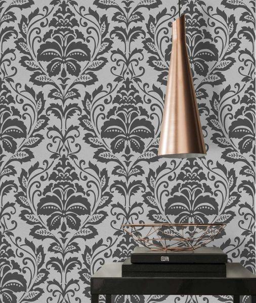 Vliestapete Barock Ornament schwarz silber metallic