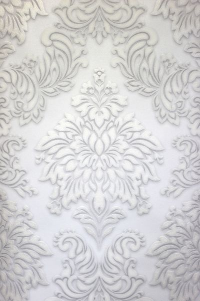 Vliestapete Barock Ornament weiß grau