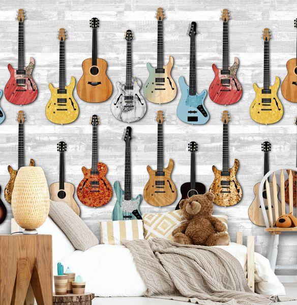 Vlies Fototapete Gitarren Holzwand Rockstar Musik Wandbild 200 x 300 cm