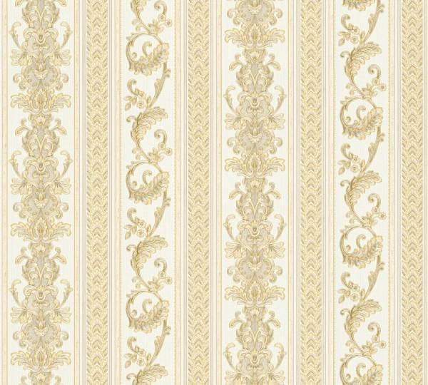 Vliestapete Ranken Streifen Optik beige gold glanz