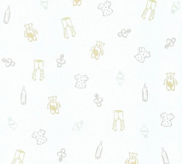 Kinder Vliestapete Teddy Kleidung Schnuller weiß creme