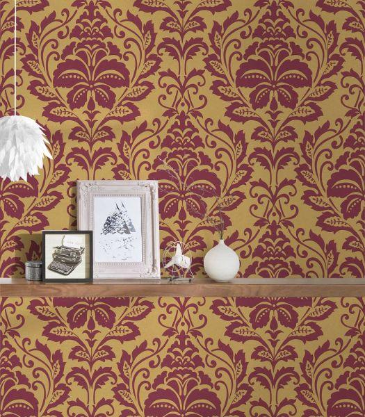 Vliestapete Barock Ornament rot gold metallic