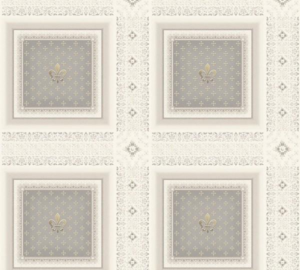 Vliestapete Kassette Barock silber grau metallic