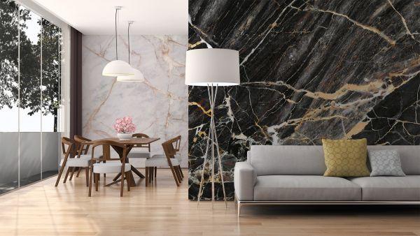 Fototapete Digitaldruck 3d Marmorwand schwarz gold 255 x 350 cm