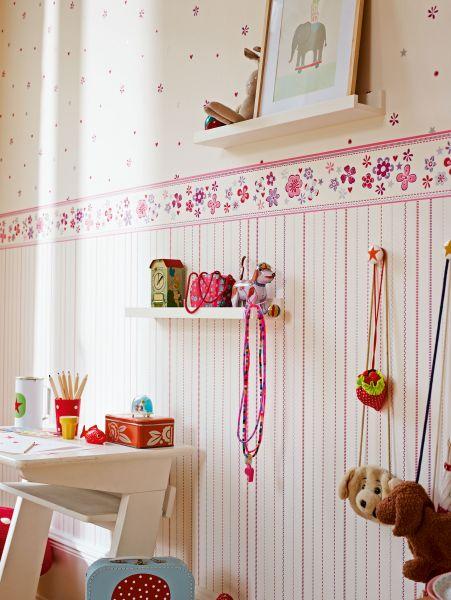 Vliestapete Esprit Kids grafische Streifen lila rot silber