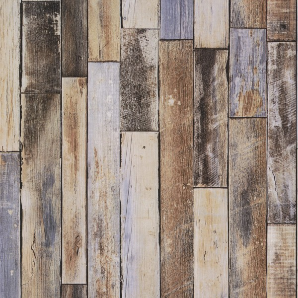 Vliestapete Holz verwittert beige braun blau