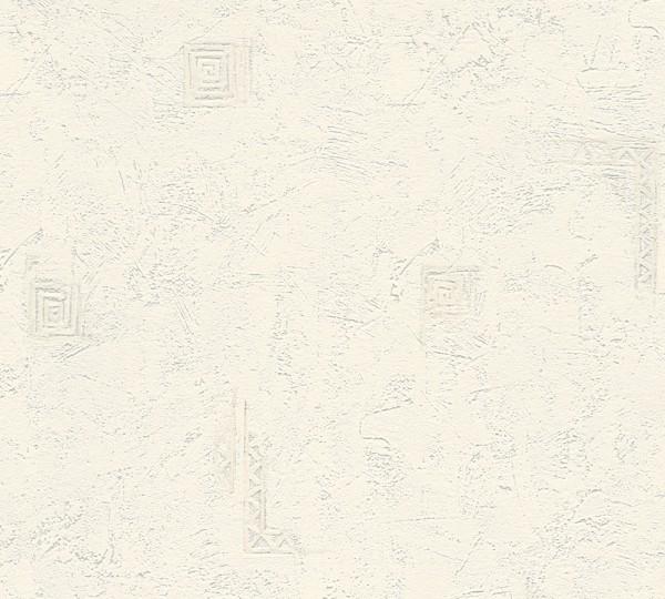 Vliestapete uni Struktur grafisches Muster weiß