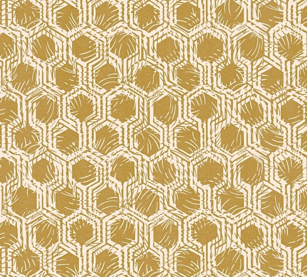 Vlies Tapete Waben Grafik gold grau metallic