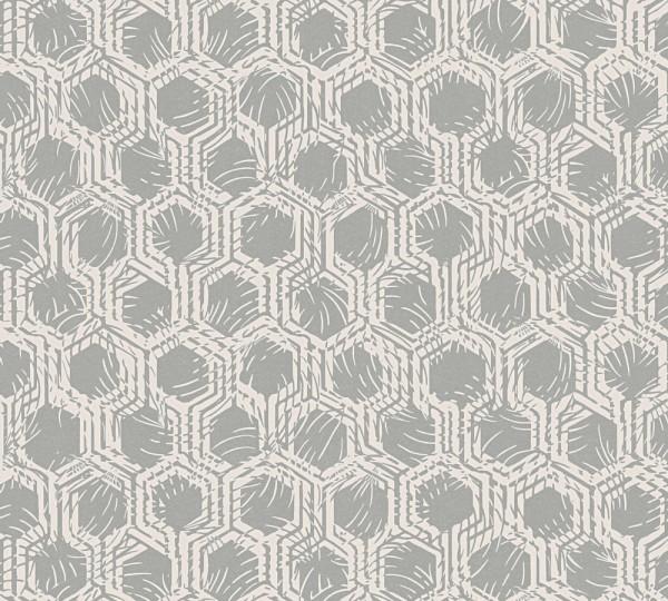 Vlies Tapete Waben Grafik silber creme metallic