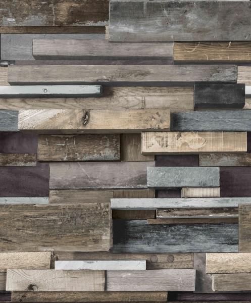 Vliestapete Holz Block Balken Bretter braun