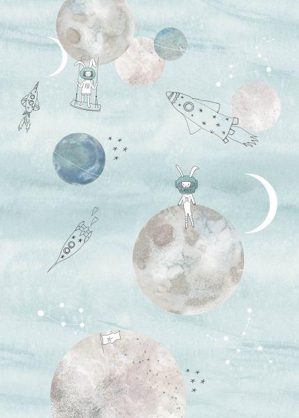 Vlies Fototapete Weltall Planeten blau Wandbild 200 x 280 cm
