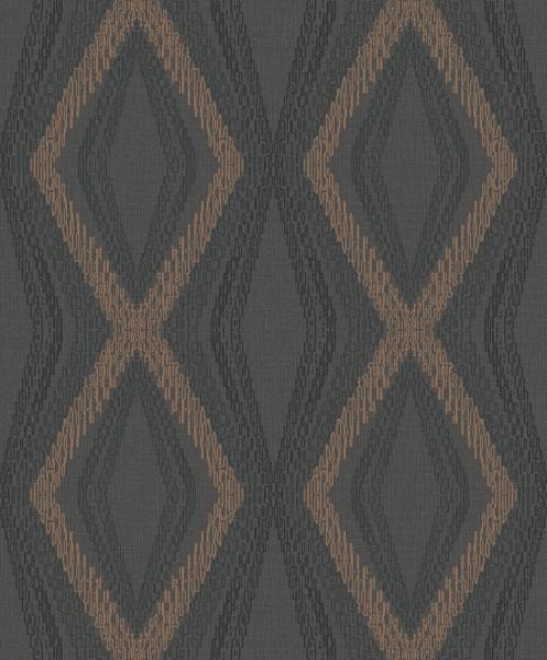 Vliestapete Rauten Karo Muster schwarz bronze metallic OR3003