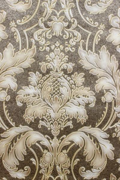Hochwertige Vliestapete Barock Ornament braun gold