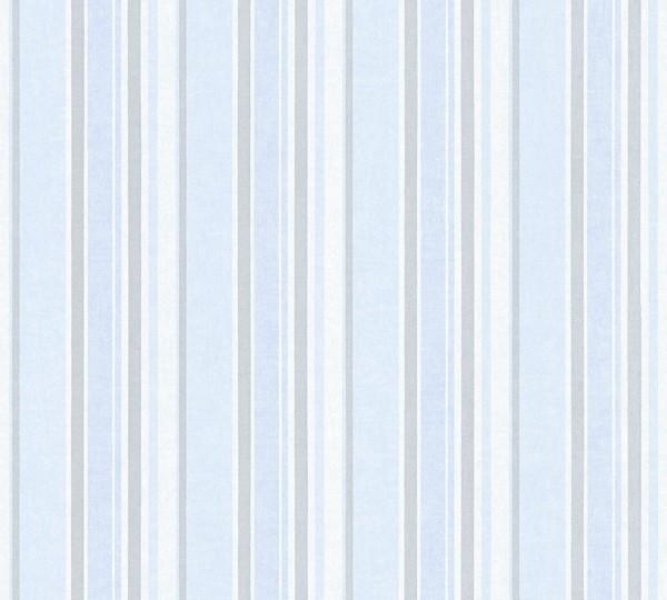 Vliestapete Kinder Streifen Muster blau silber