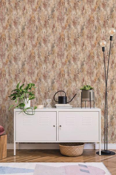 Vliestapete Beton Optik verwittert creme terra rost used look