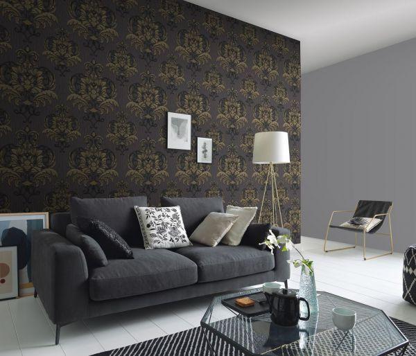 Vliestapete Barock Ornament metallic anthrazit schwarz gold
