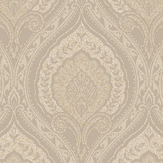 Vliestapete Barock Ornament beige gold metallic