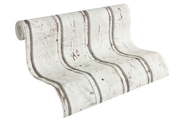 Vliestapete Antik Holz rustikal Bretter verwittert creme grau weiß