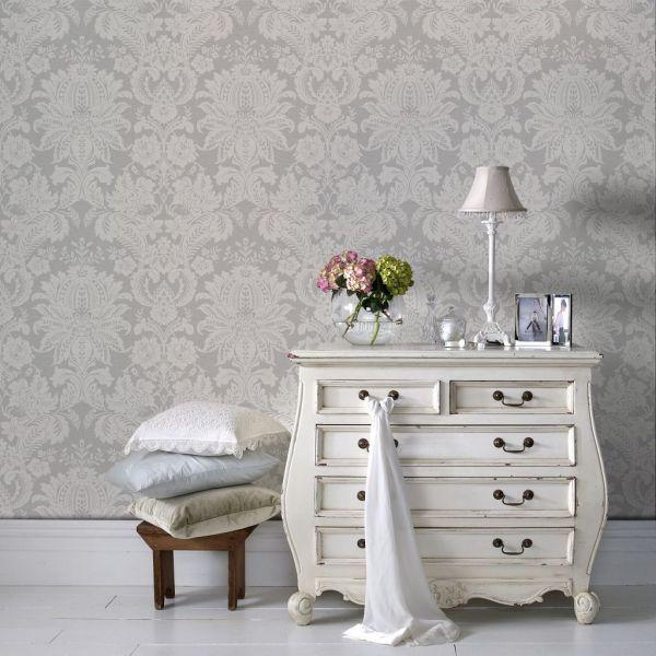Venezianische Barock Vliestapete Struktur grau weiß
