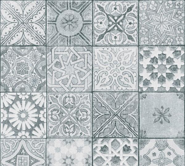 Vliestapete Fliesenoptik Mosaik grau Marie