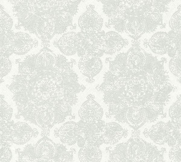 36463 1 Boheme Ornament Vlies Tapete Grau Weiss Metallic Joratrend