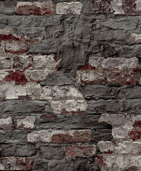 Vliestapete Beton Ziegelstein Bruchstein anthrazit grau rot braun