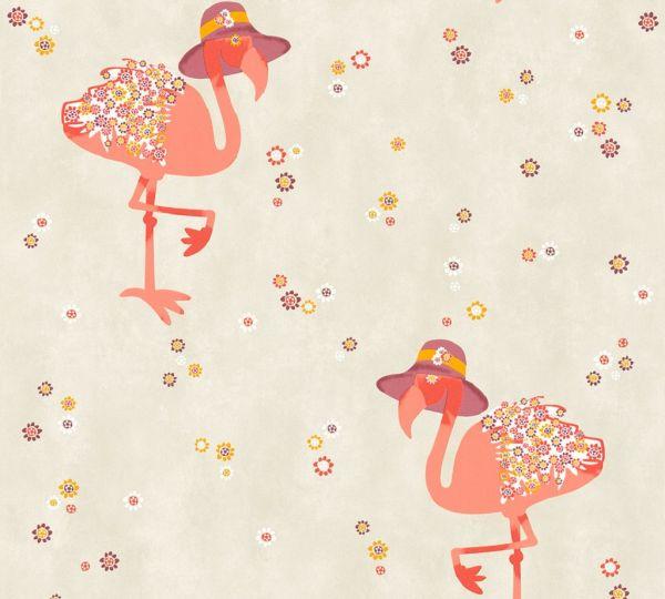 Vliestapete Flamingo Blumen grau beige orange