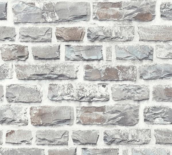 Vliestapete A.S Création Neue Bude 2.0 Ziegelstein Optik taupe grau