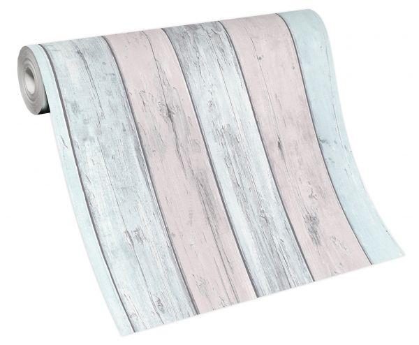Vliestapete Holz verwittert hell blau grau rosa