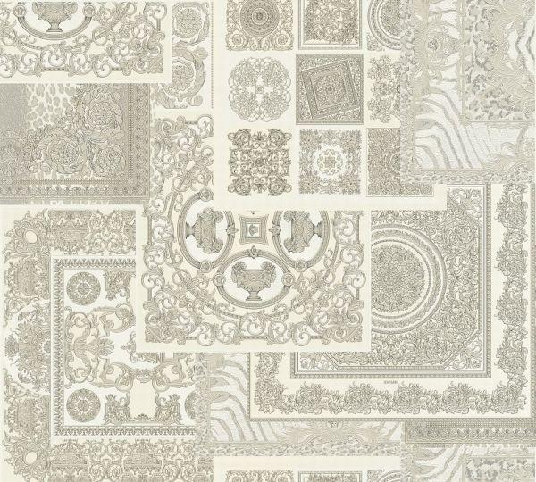 Versace 4 Patchwork Ornament Kacheln Tapete grau weiß metallic