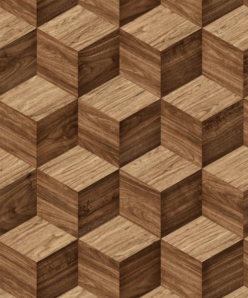 Vliestapete 3D Effekt Illusion Holzwürfel braun