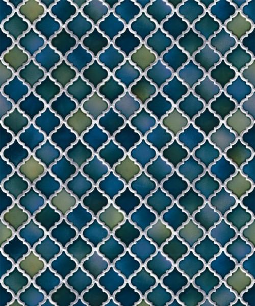 Vliestapete Keramik Mosaik Fliesen Florentiner Optik Petrol Blau