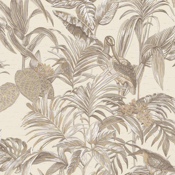 Design Vliestapete Palmen Kranich Stickoptik beige braun