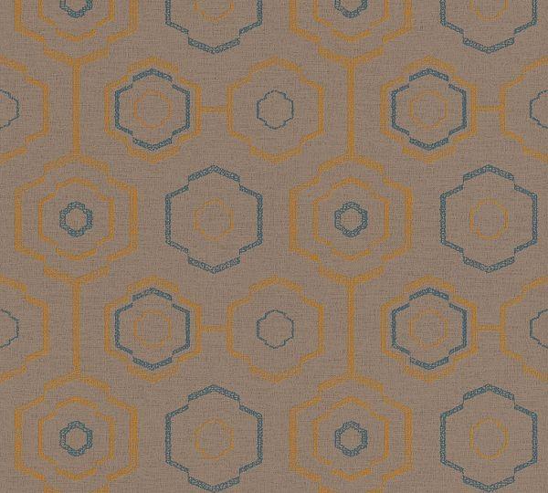 Waben Muster Vliestapete braun blau orange