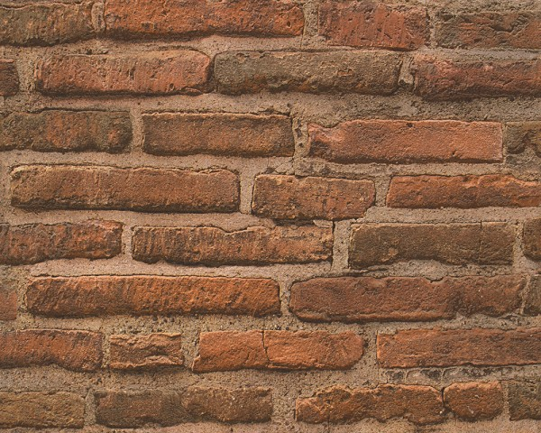 Vliestapete Ziegelstein Mauer Optik terra rost