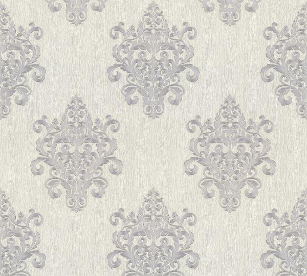 Vliestapete Barock Ornament grau silber Großrolle