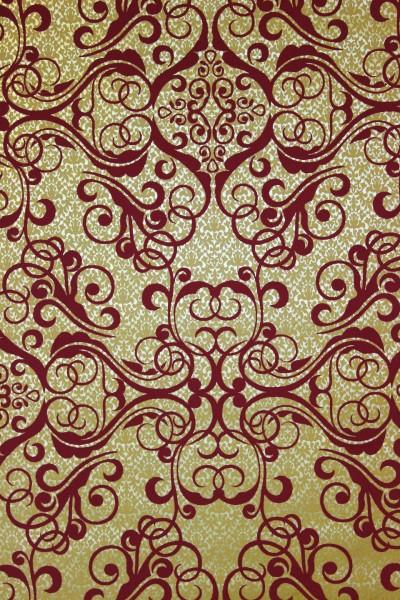 Vliestapete Barock Muster Ornament gold rot metallic