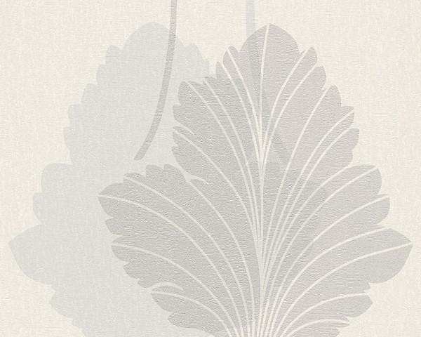 Vliestapete Blatt Optik weiß silber metallic Fleece Royal 96192-1