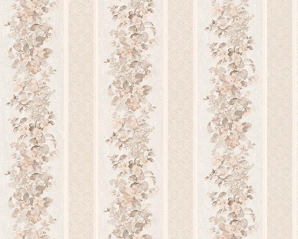 Vinyl Tapete Streifen Floral Blumen Muster Creme Beige Landhaus