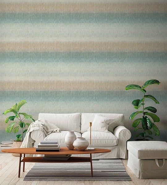 Vliestapete Textil Optik quergestreift pastell mint grün beige
