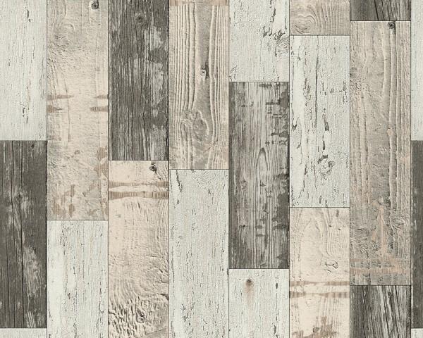 Vinyl Tapete Antik Holz rustikal beige braun bretter verwittert